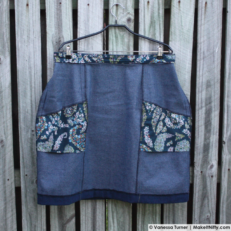 Denim Polly Skirt-Hanger Inside Front-Make It Nifty